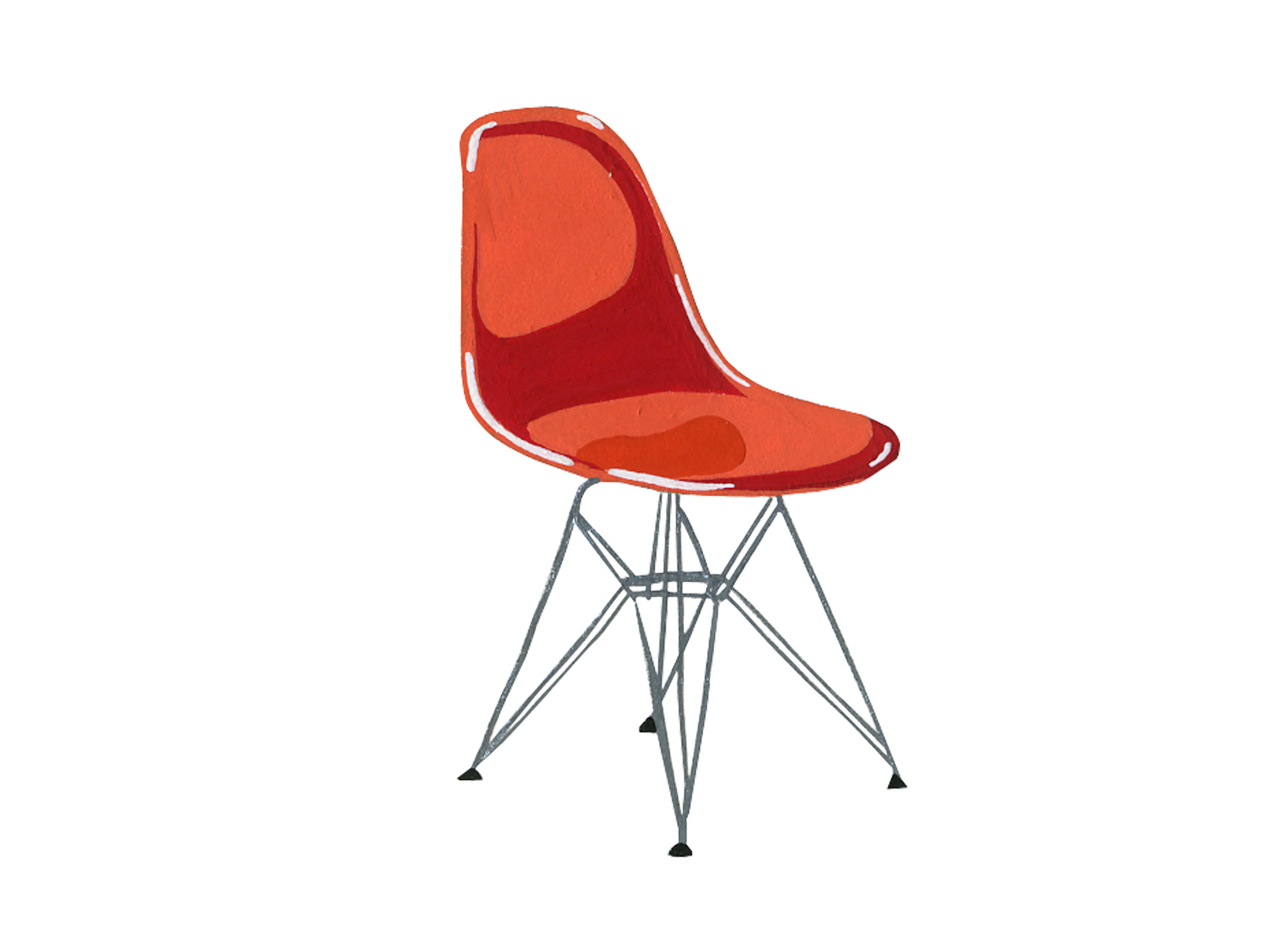 Red Molded Plastic Eames | Mid-Century Chair Series