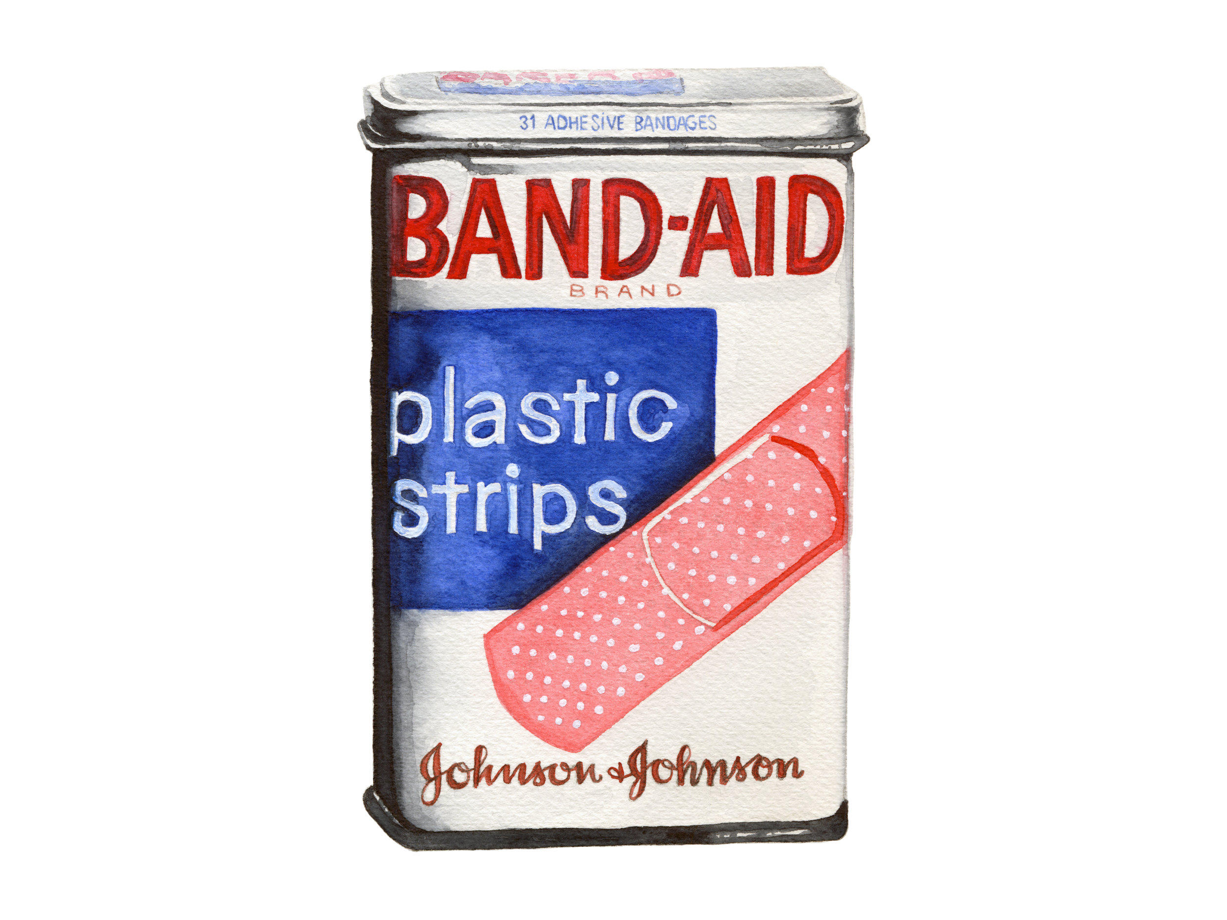 Band-Aid Plastic Strips Vintage Tin - Watercolor Illustration by Cheryl Oz