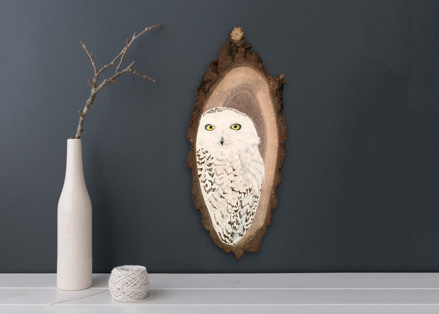Snowy Owl Original Fine Art Acrylic Gouache Wood Slab Painting    by Cheryl Oz