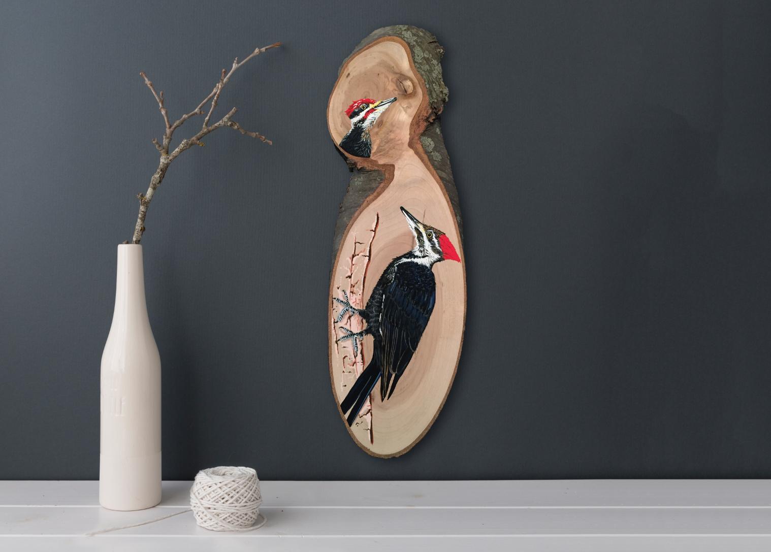 Pileated Woodpeckers Original Fine Art Acrylic Gouache Wood Slab Painting  : Wood Slab Series by Cheryl Oz