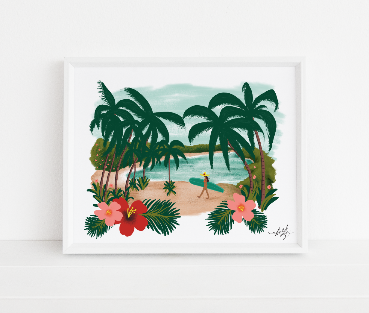 Paradise Digital Gouache Illustration by Cheryl Oz