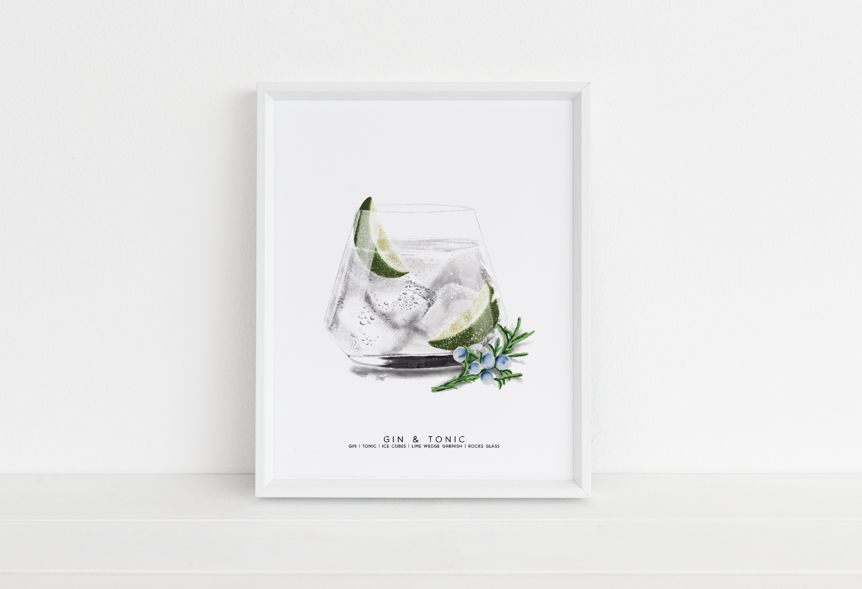 Gin & Tonic Digital Illustration by Michigan artist, Cheryl Oz