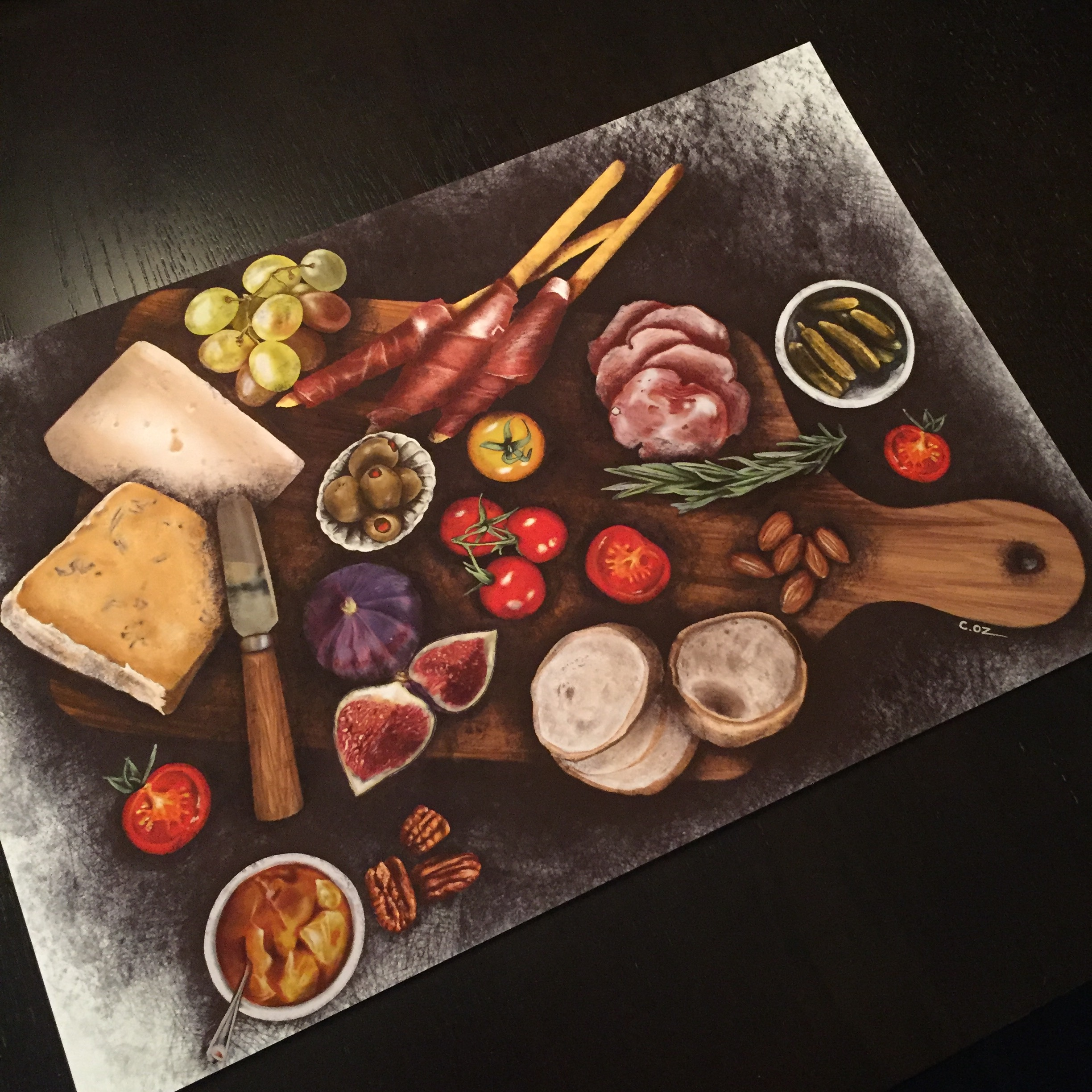 "Charcuterie Board Digital Illustration by Michigan artist, Cheryl Oz. (Displayed image, 13x19"" fine art print)"