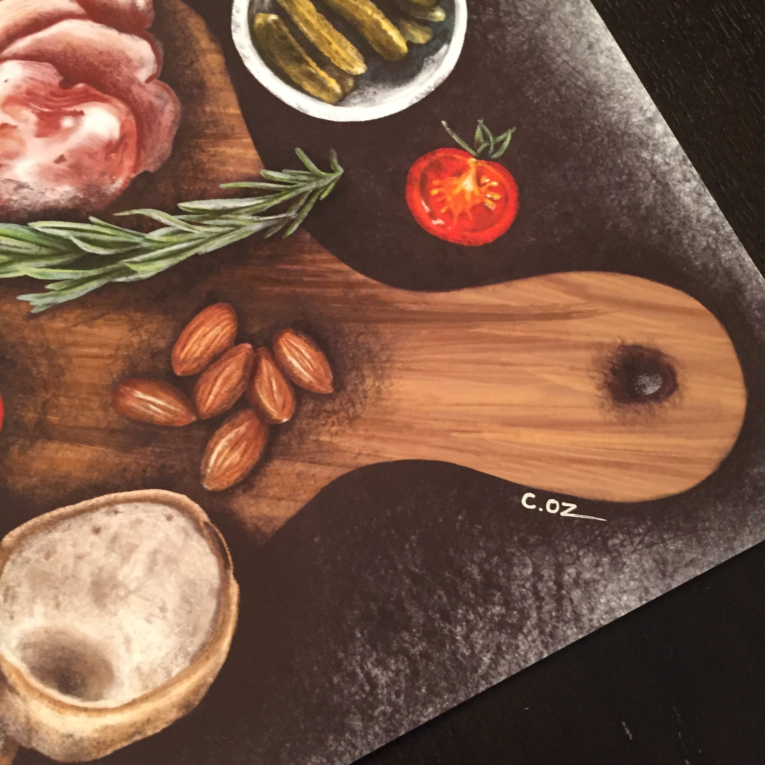 Charcuterie Board Digital Illustration by Michigan artist, Cheryl Oz