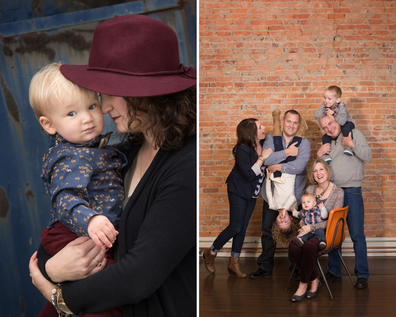 Minster Ohio, Yorkshire Ohio, emotional family photography, mom and baby, family clothing, studio photography, studio session, brick wall, fun family photography