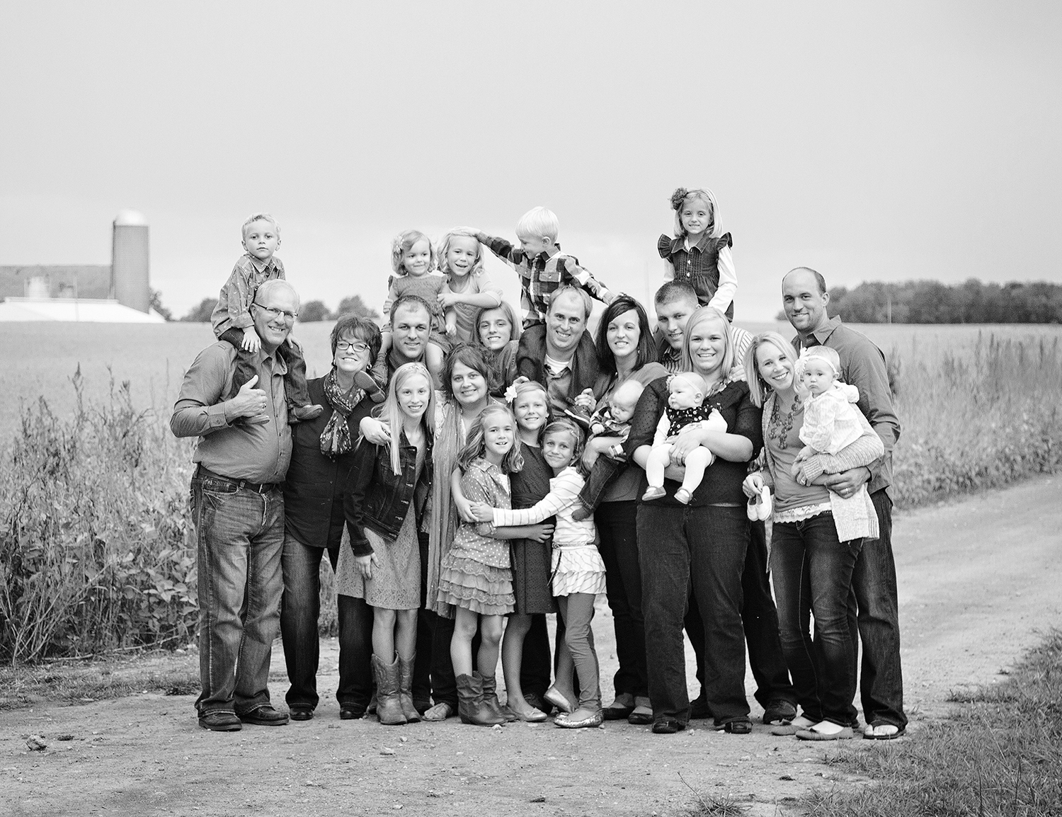 Maria Stein Ohio, Maria Stein Relic Shrine, black and white photography, candid family portrait, outdoor family portrait, extended family portrait, large family picture
