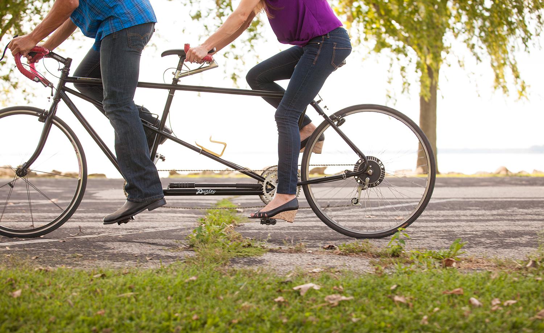 St Marys Ohio, tandem bike, modern engagement photography, storytelling photography