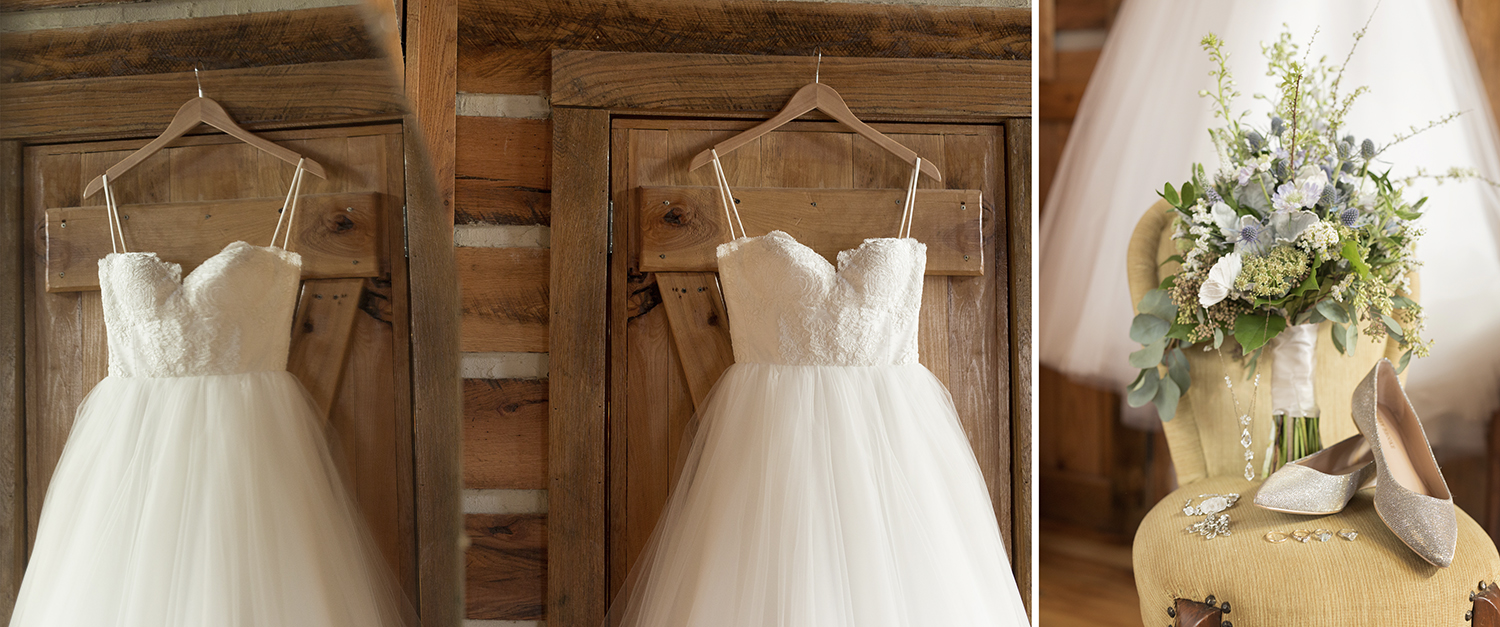 Asheville North Carolina, Memory Mountain at Wolf Laurel, rustic wedding, rustic wedding details, tulle dress, ballgown, lace bodice, rustic bouquet, detail photography