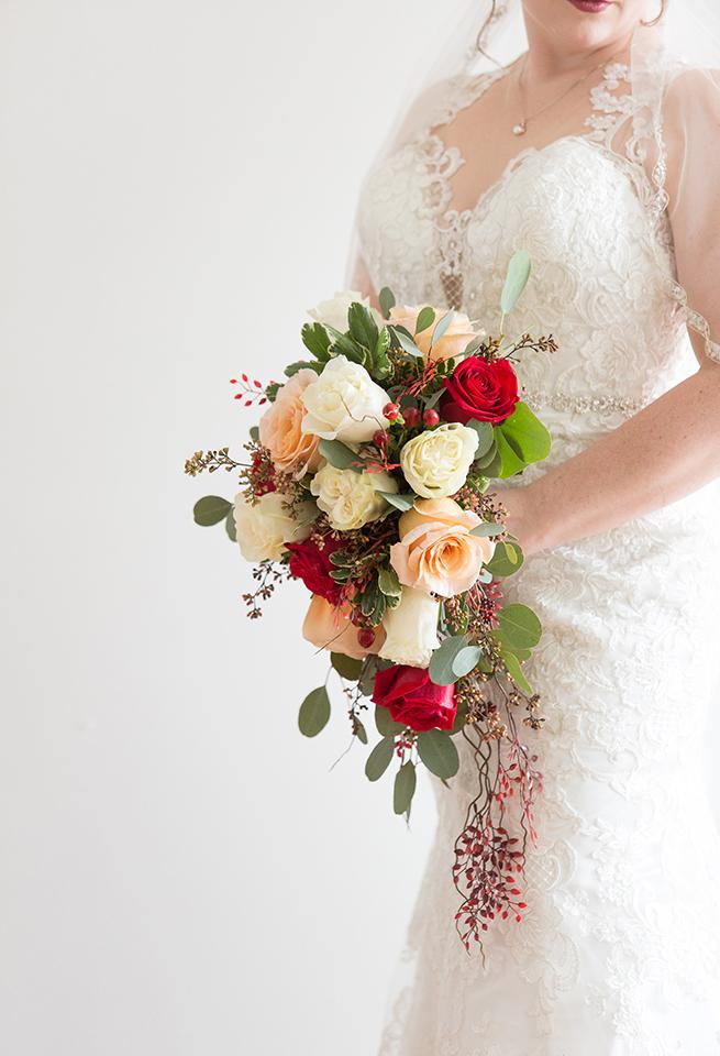 Bridal Dress Shop: Emmy's | Minster, OH Bridal Designer: Allure | lace, illusion dress Florist: Venetian Gardens | Celina, OH | roses, peach flowers