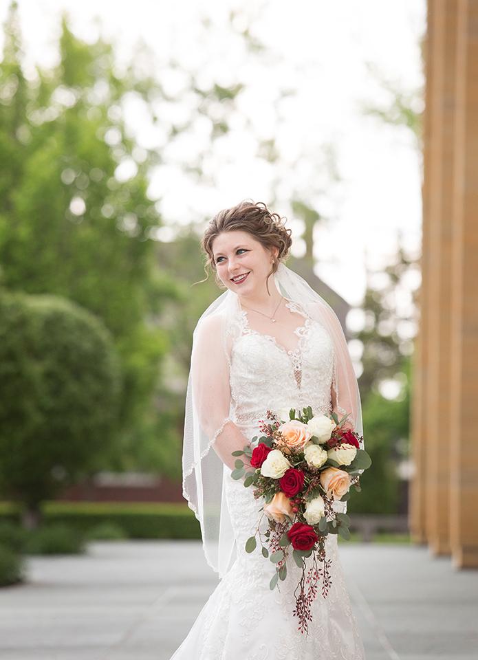 Bridal Dress Shop: Emmy's | Minster, OH Bridal Designer: Allure | lace, illusion dress Florist: Venetian Gardens | Celina, OH