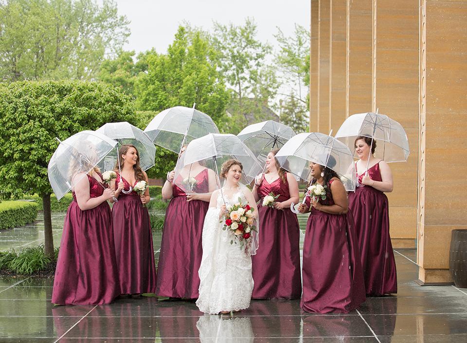 Bridal Dress Shop: Emmy's | Minster, OH Bridal Designer: Allure | lace, illusion dress Florist: Venetian Gardens | Celina, OH Bridesmaid Dress Shop: Emmy's Minster, OH Bridesmaid Designer: Jasmine | sequin, wine-colored dresses