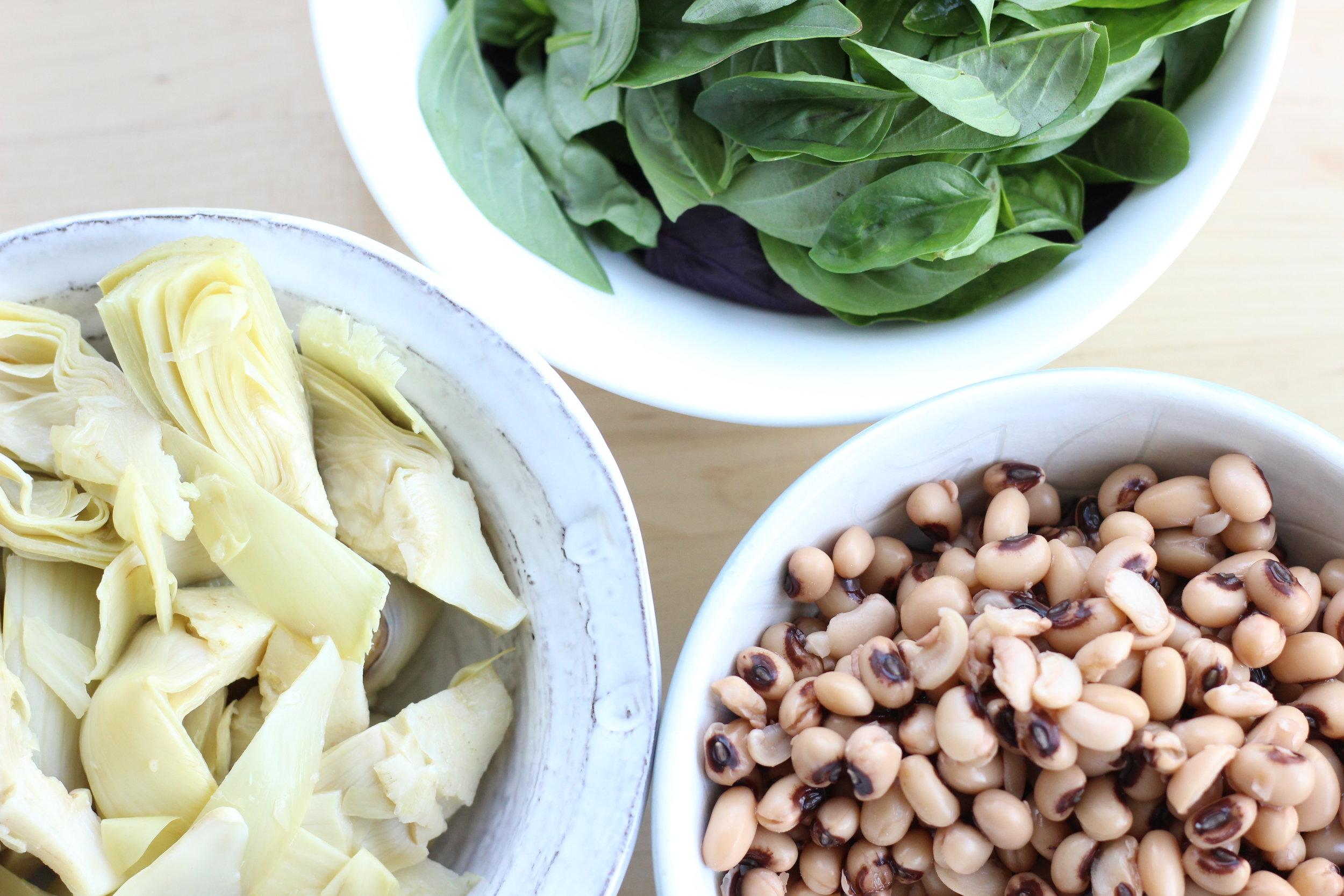 Eggplant zucchini fresh basil cheezy pasta ingredients bowls 4.jpg