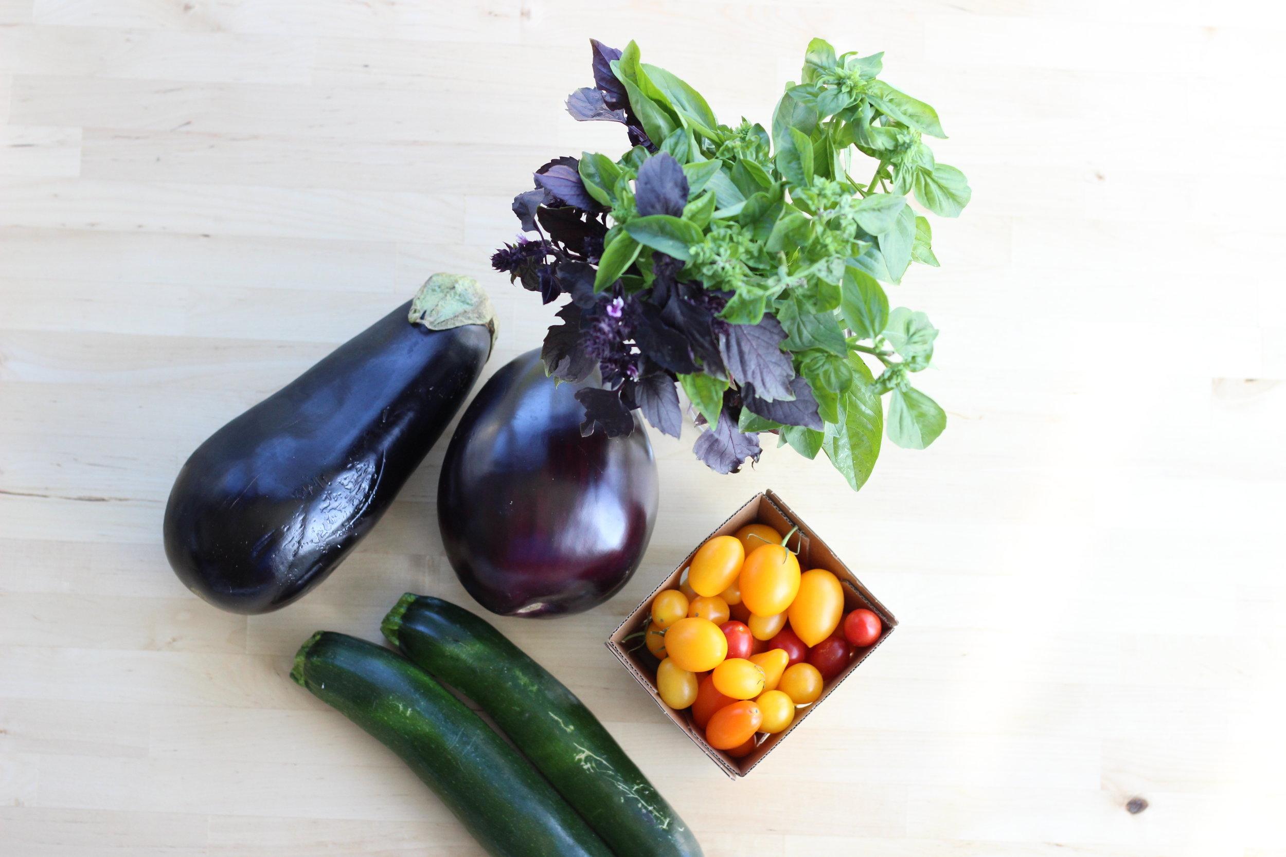 Eggplant zucchini fresh basil cheezy pasta ingredients 2.jpg