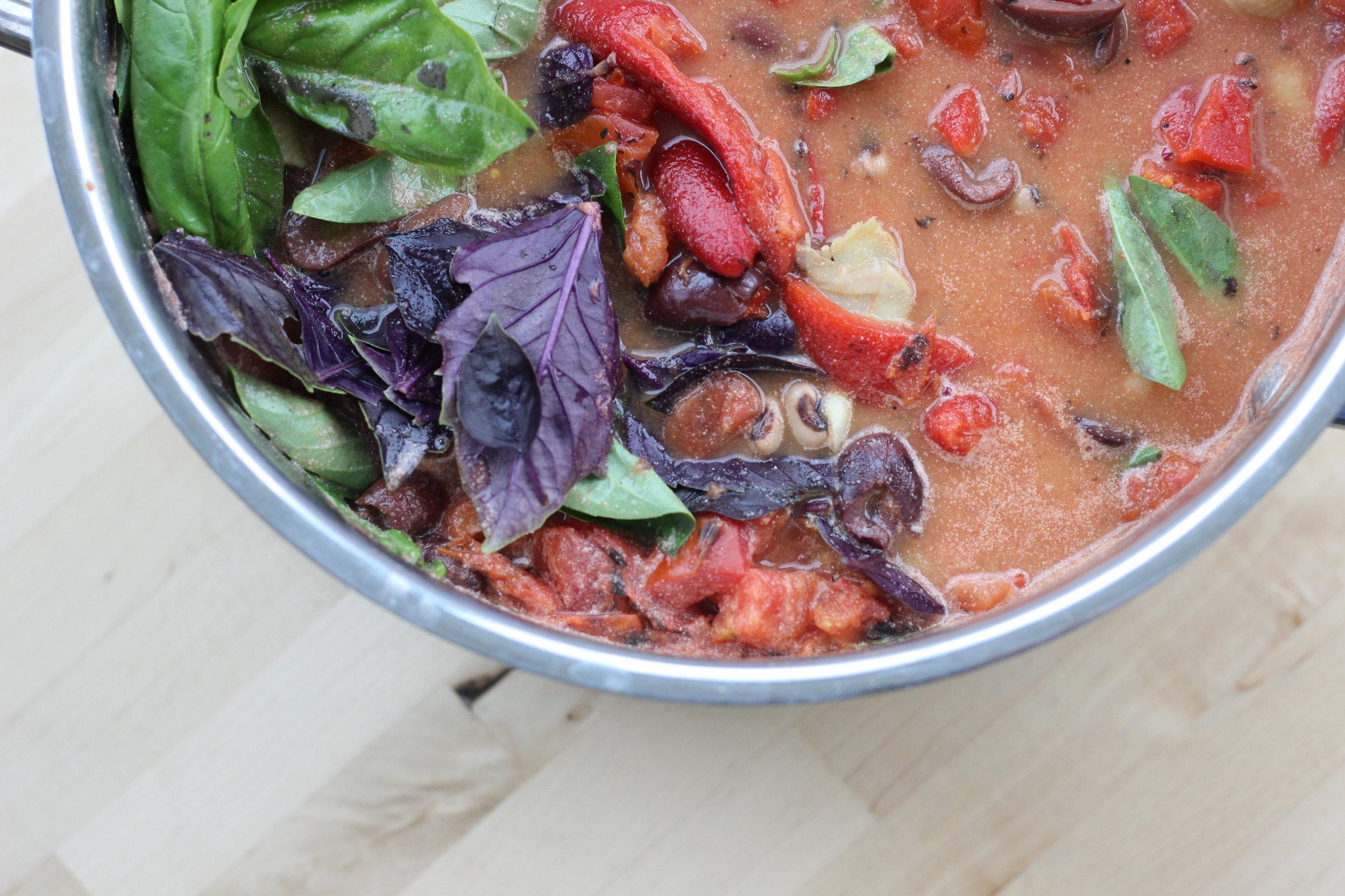 Eggplant zucchini fresh basil cheezy pasta pot 3.jpg