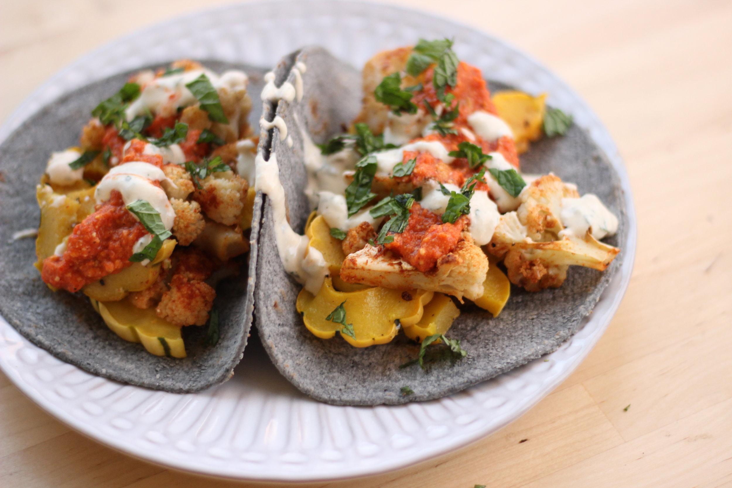 Cauliflower tacos romesco sauce plated.jpg