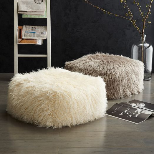 These stunning Mongolian faux lamb poufs are from West Elm UK