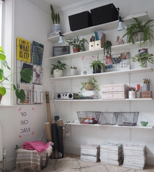 This beautiful set of office shelves are from  Lisa Dawsons  blog post: Easy work space update; how I got organised