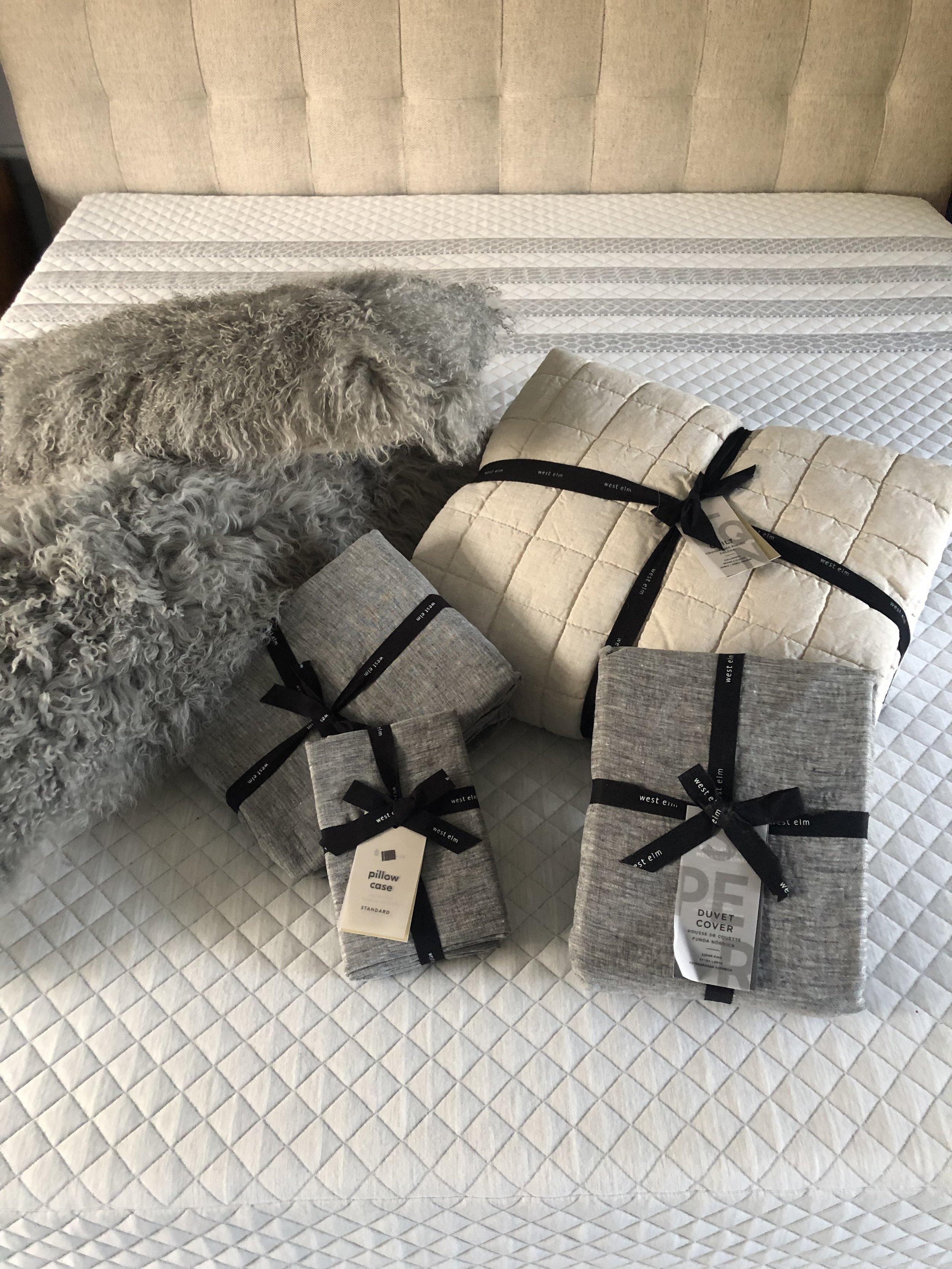 Belgian Flax Linen Melange Sheets, Duvet and Pillow Cases - Slate  Belgian Flax Linen Bedspread - Natural Flax  Mongolian Lamb Cushions - Platinum