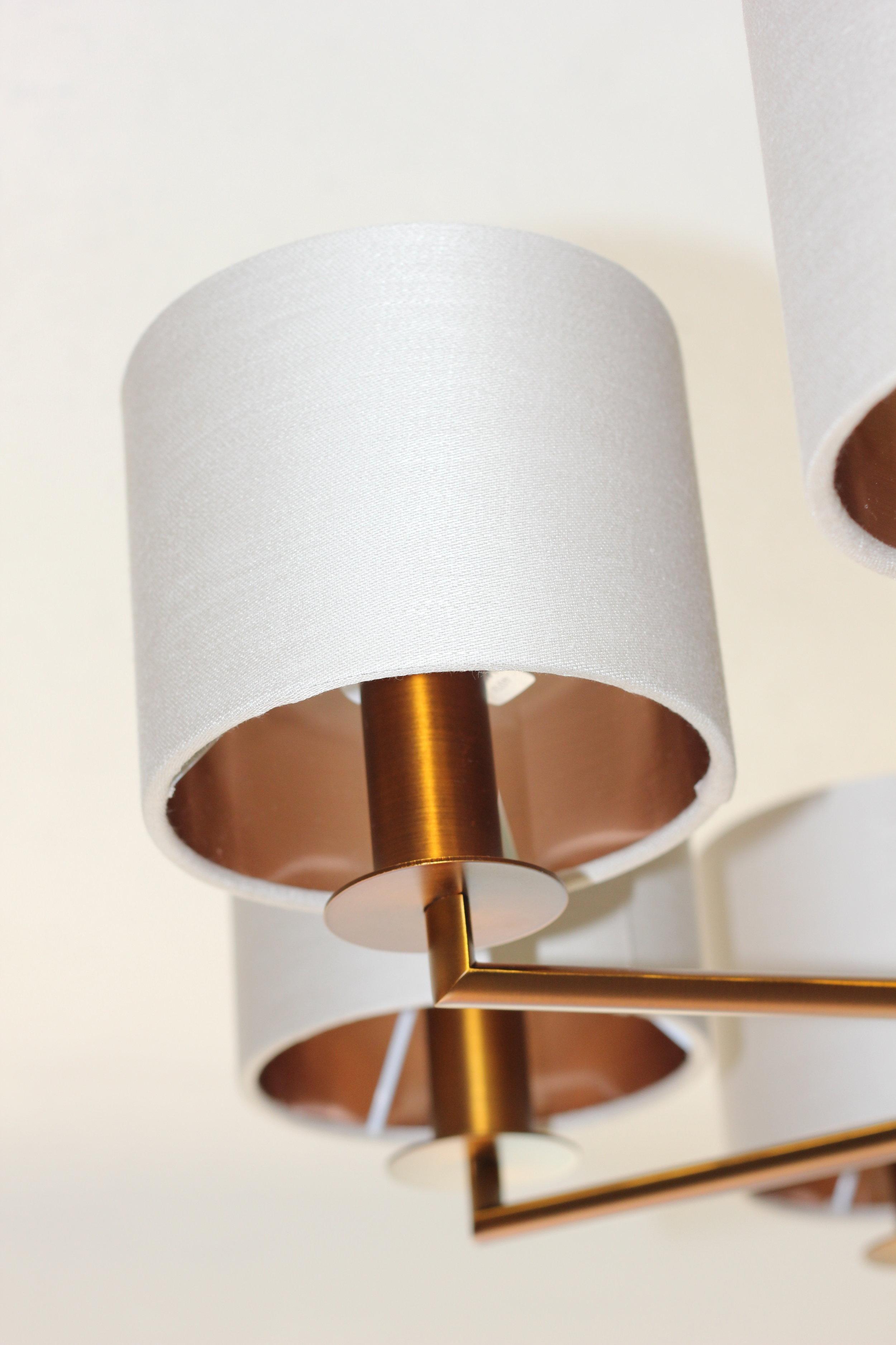 Rex - 8 Light - Bronze  Outer Shade - Linen  Inner Shade - Bronze Metallic