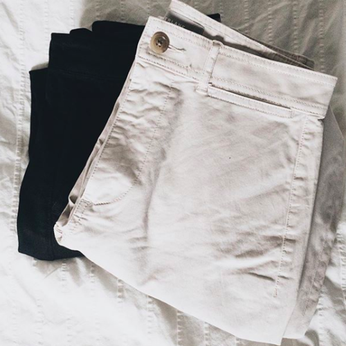 Women's wide leg chino in washed black.  Women's wide leg crop pant in bone.