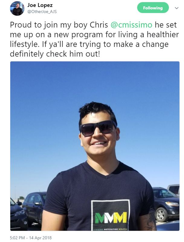 Joe Lopez Missimo Motivation Shirt.JPG