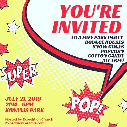 Sunday will be a fun day as we kick off our VBS in the park with a park party! VBS in the park will be Monday-Wednesday (July 22-25th) at 10 AM each morning. Hope to see you there!