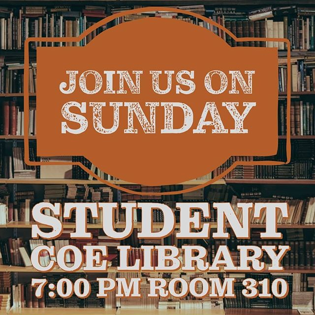 Messed up on the last post Room 310 is where we will be meeting. Hope you make it Sunday as we tackle the Gospel and how it affects our lives!