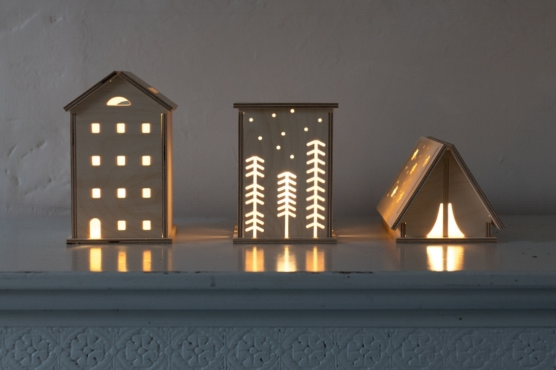 Bright Corner Wooden LED night lights offer a cosy, warm light for your home