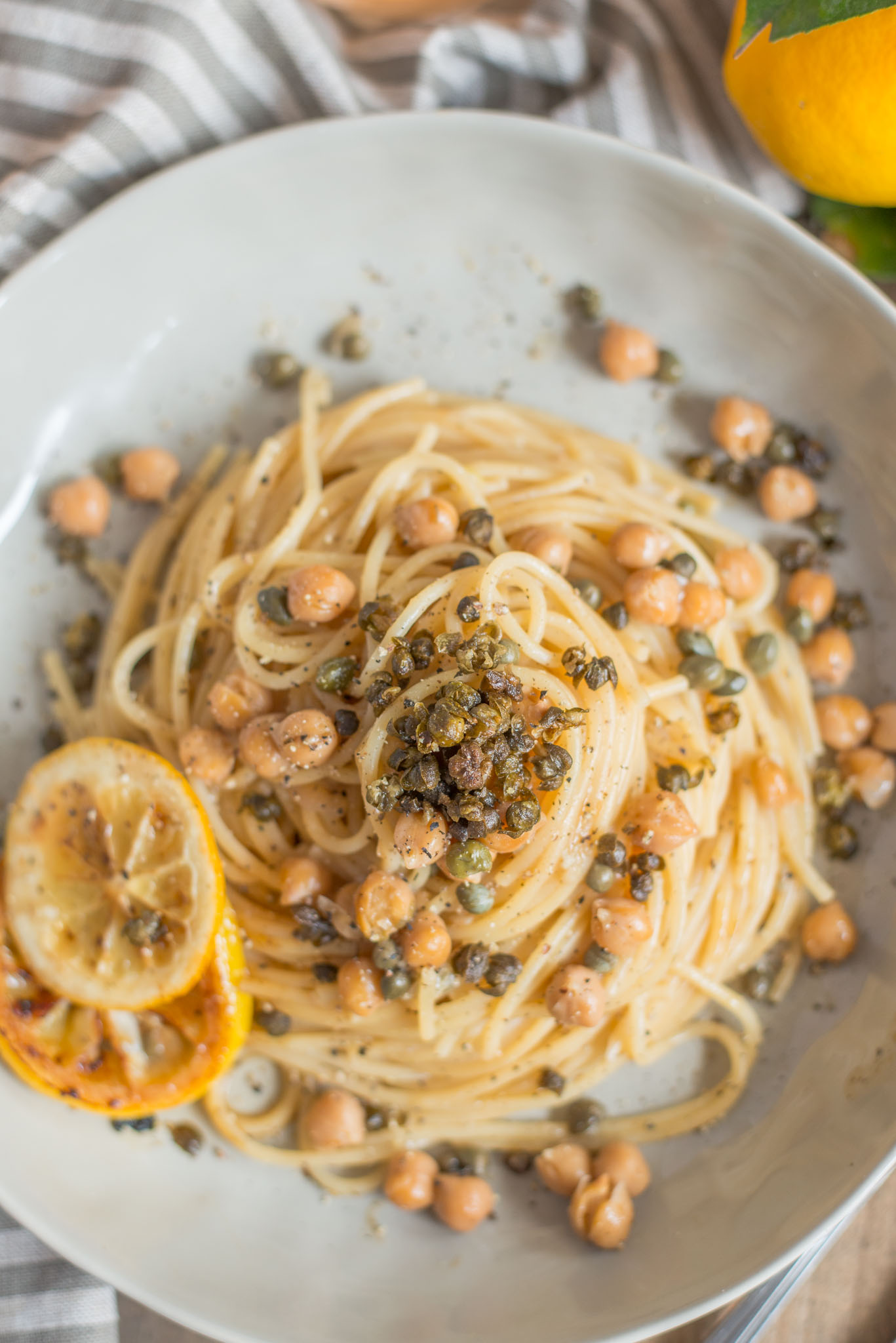 Mixed & Measured | Pasta With Crispy Capers Chickpeas Lemon