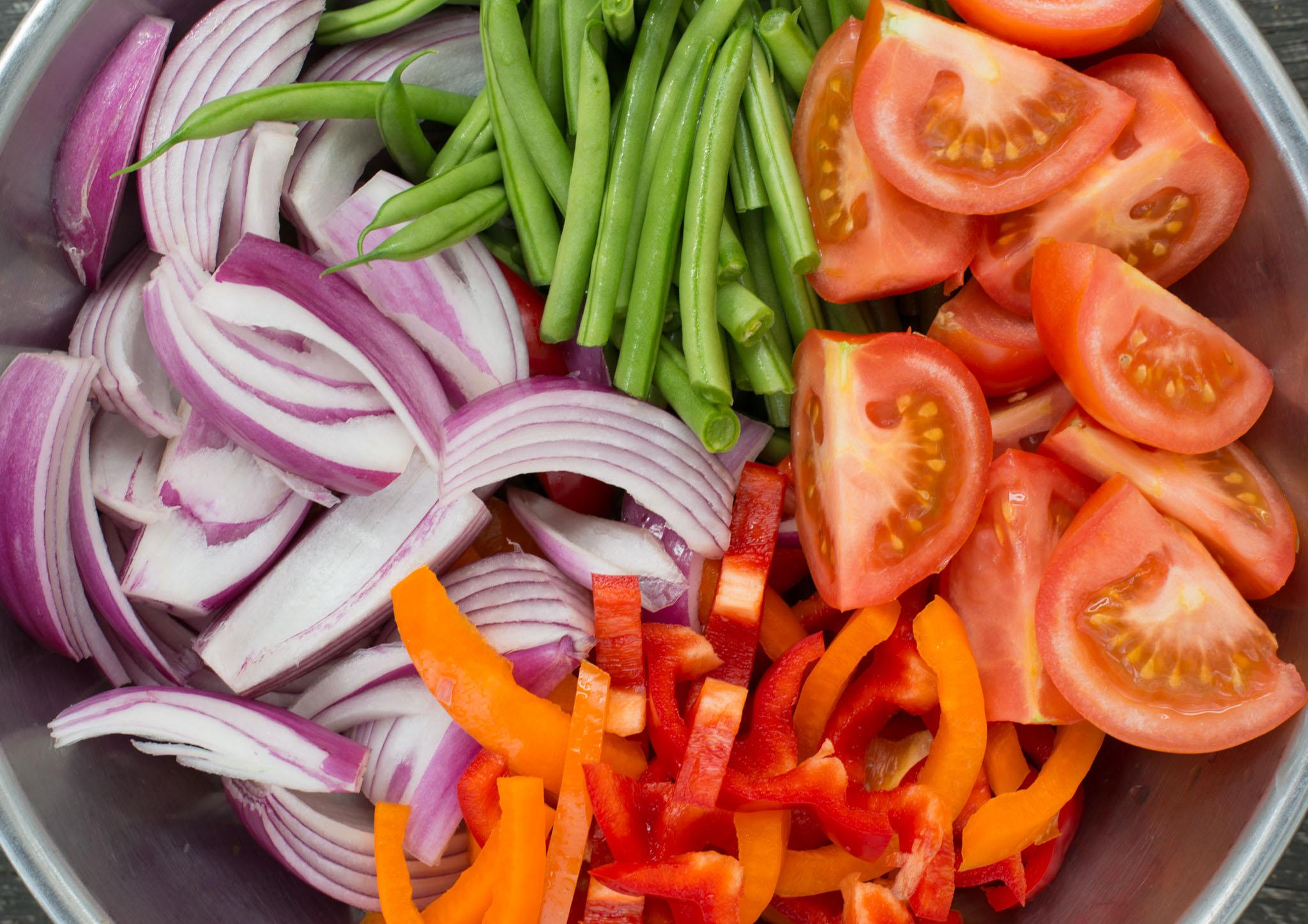 Mixed & Measured | Peruvian Veggie Saltado with Aji Verde (Green Sauce_