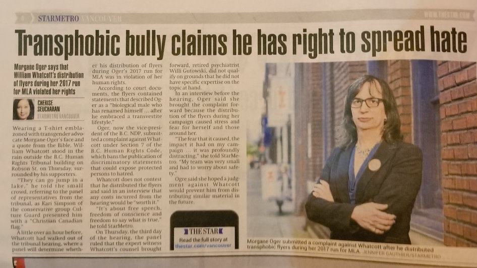 Star Metro: Transphobic Bully Claims He has Right To Spread Hate .  Click on image to read article