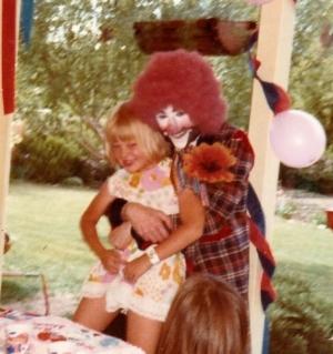 Lonnie the clown & me the birthday girl! - June 3, 1975