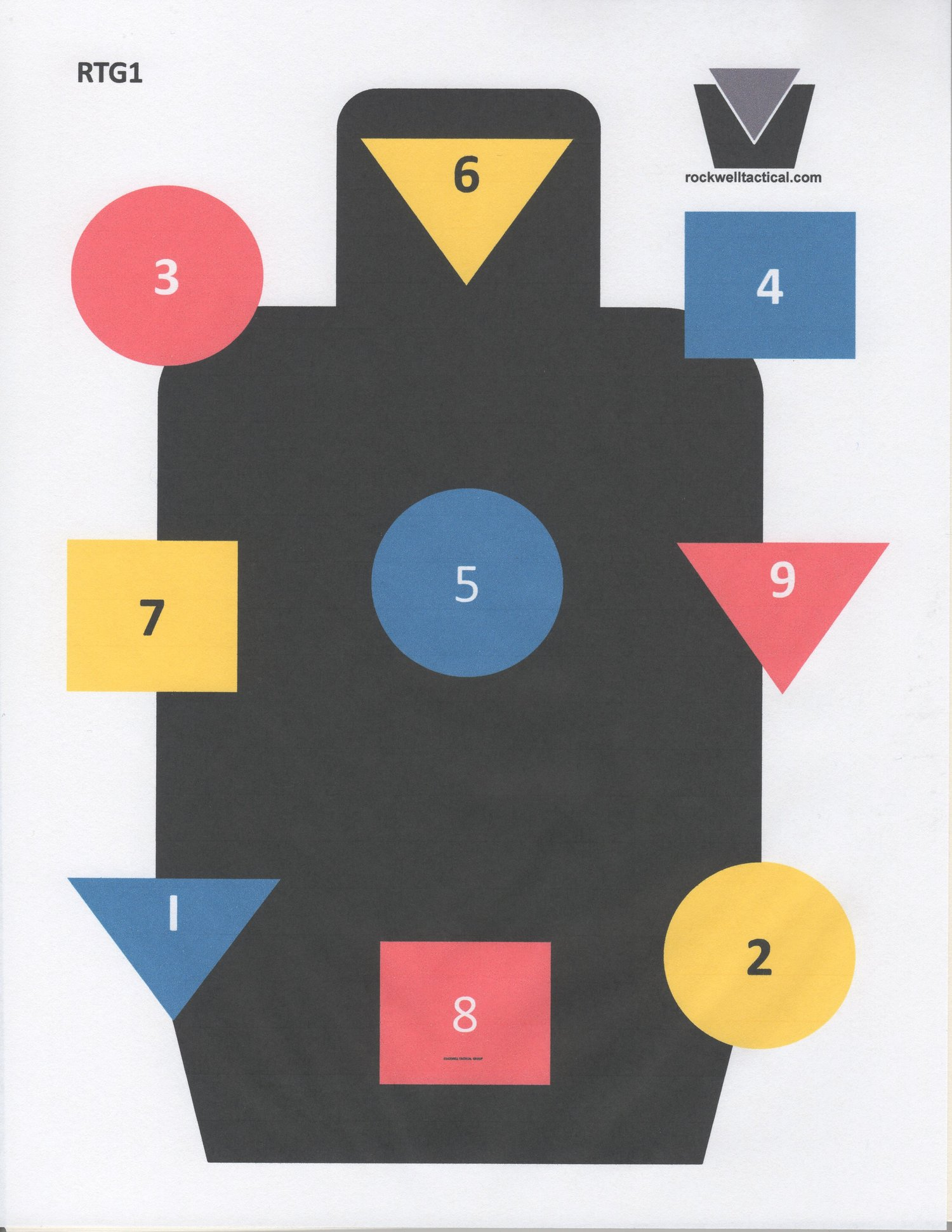"""Red Yellow/&Blue Size:24/""""x36/"""" 100 Pack Rockwell Tactical Training Target 1 Black"""