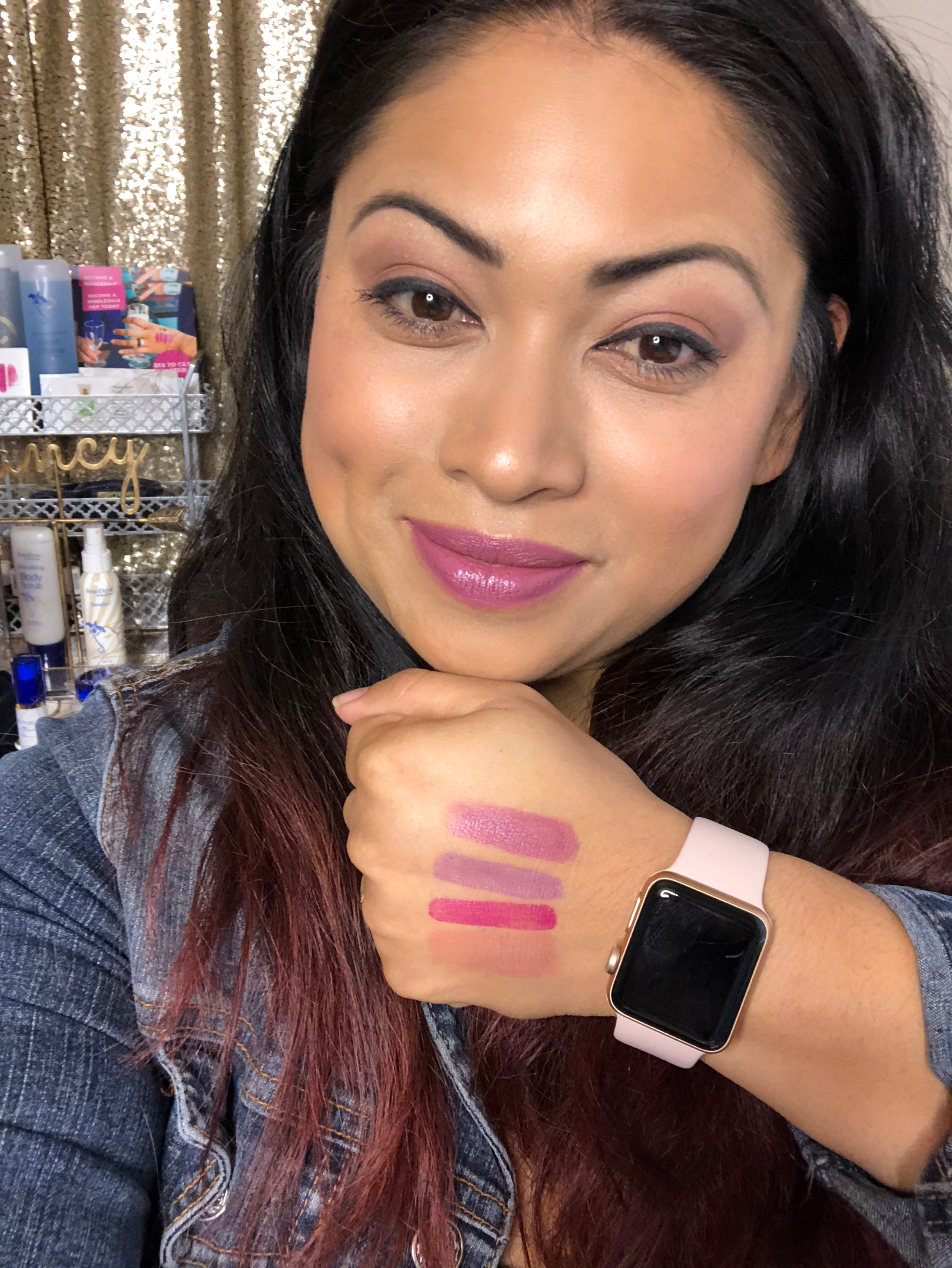 Mixing LipSense Lip Colors Violet Volt Kiss For a Cause and First Love.JPG