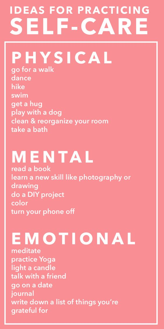Ideas for Practicing Self Care - Physical - Mental - Emotional