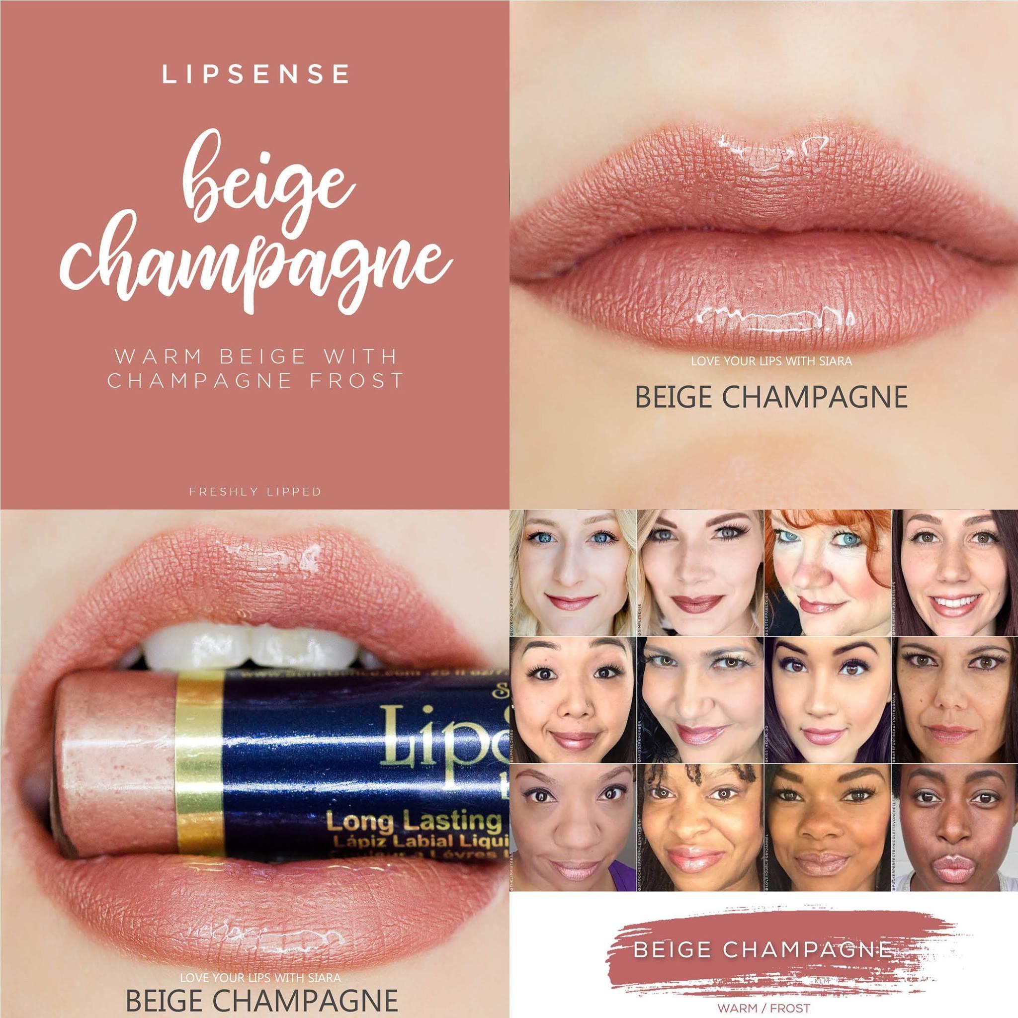 Beige Champagne LipSense Collage