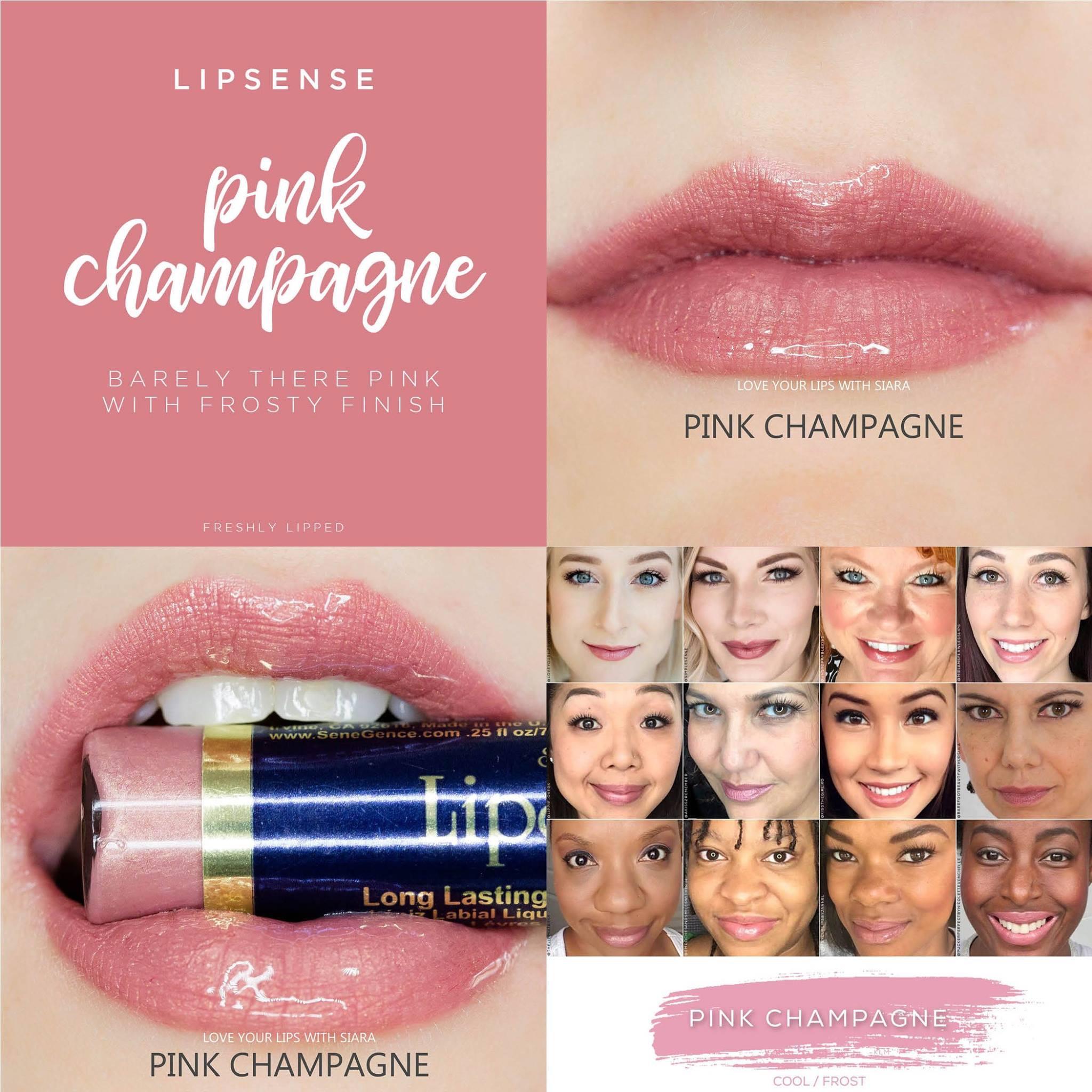 Pink Champagne LipSense Collage
