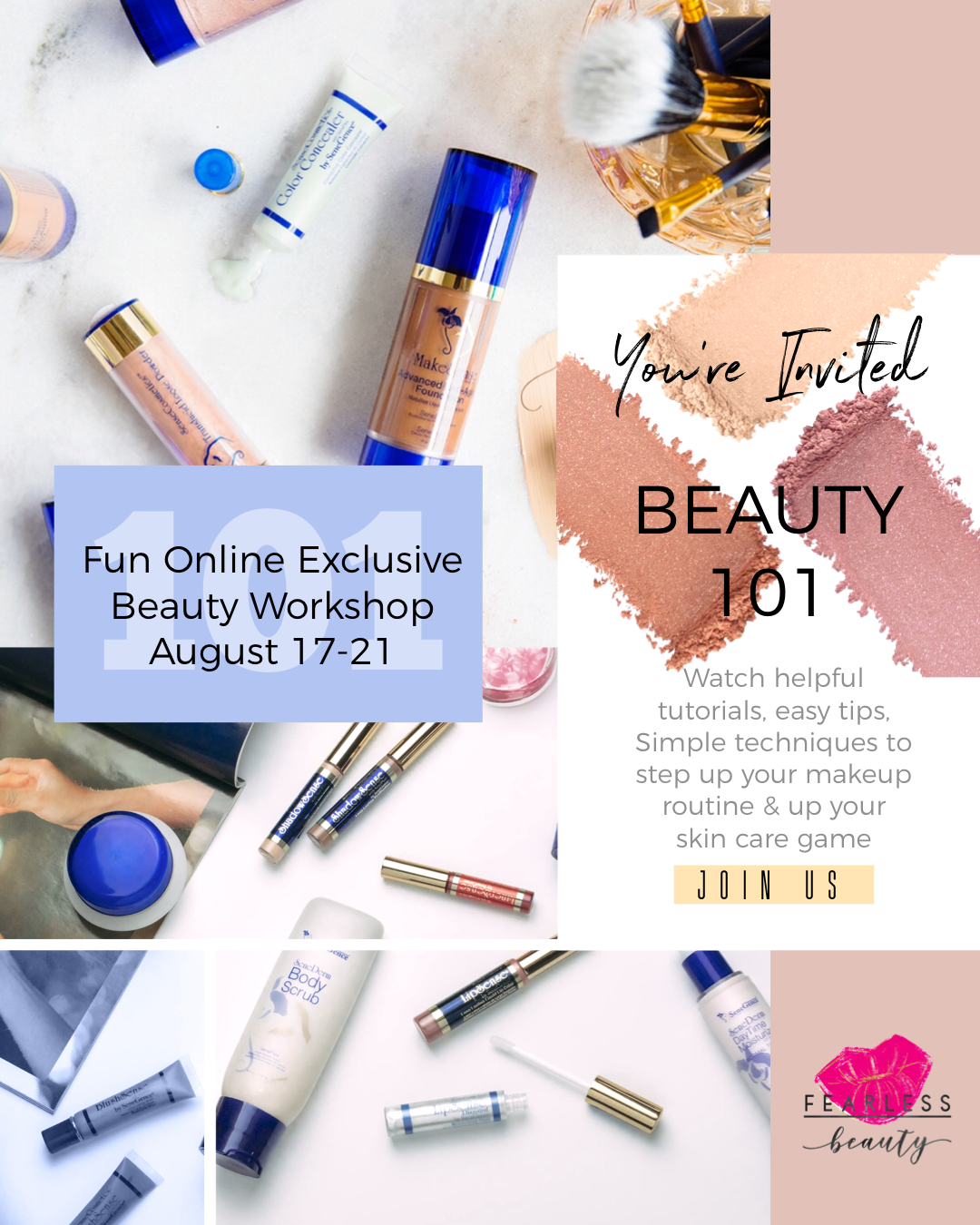 fun exclusive online beauty class to launch your business - Invite your family and friends to the online class so that you can learn together. Beauty tips, how to use our products, and skin care routines.