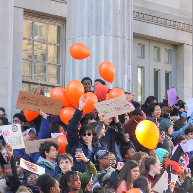 So proud of all our students who participated in today's walkout/rally.  We want gun control NOW.  #guncontrol #brooklyn