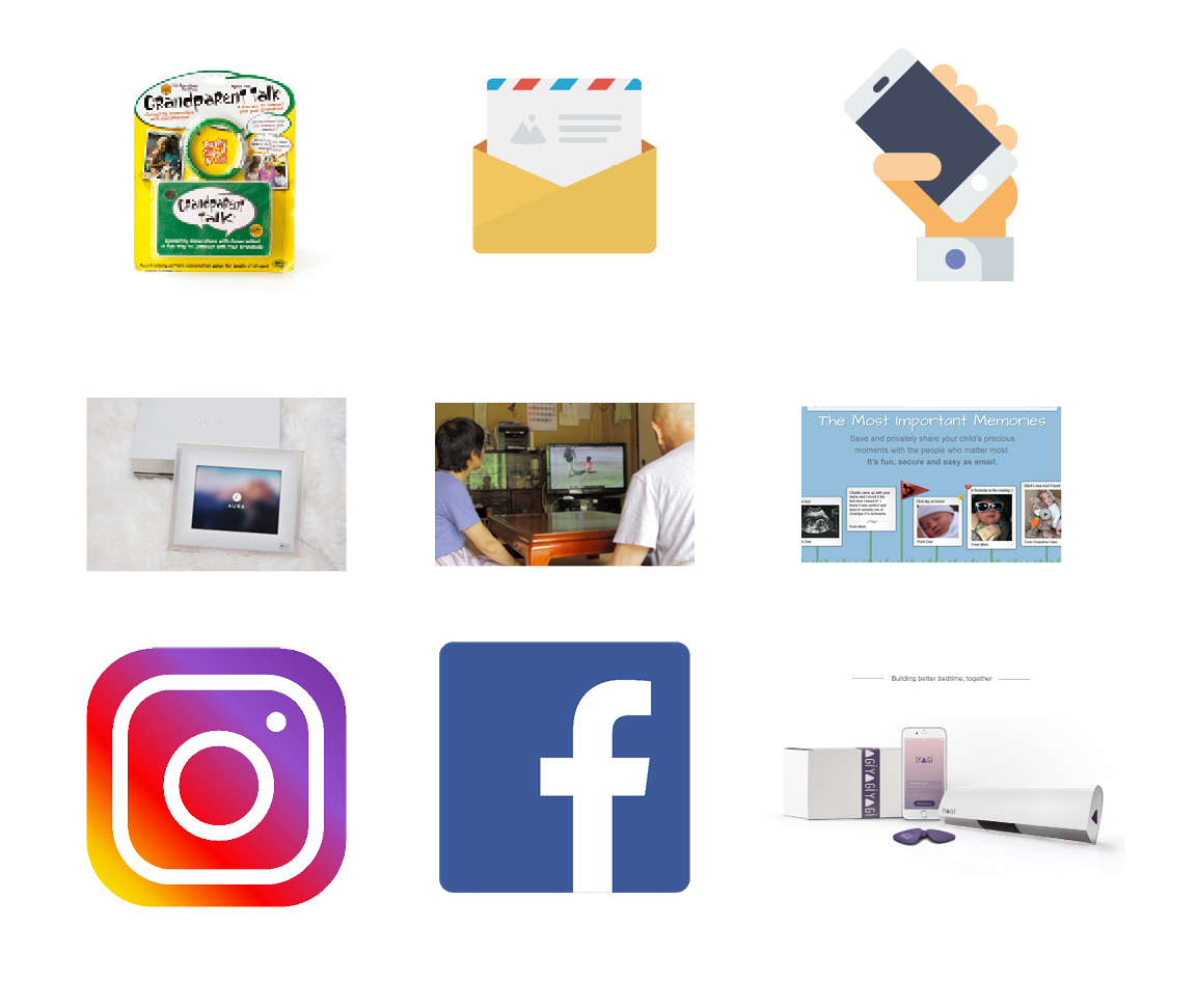 PARALLEL PRODUCTS - I looked at other products that serve the same need: inter generational communication. Some of these are apps, others are physical products and some are services.