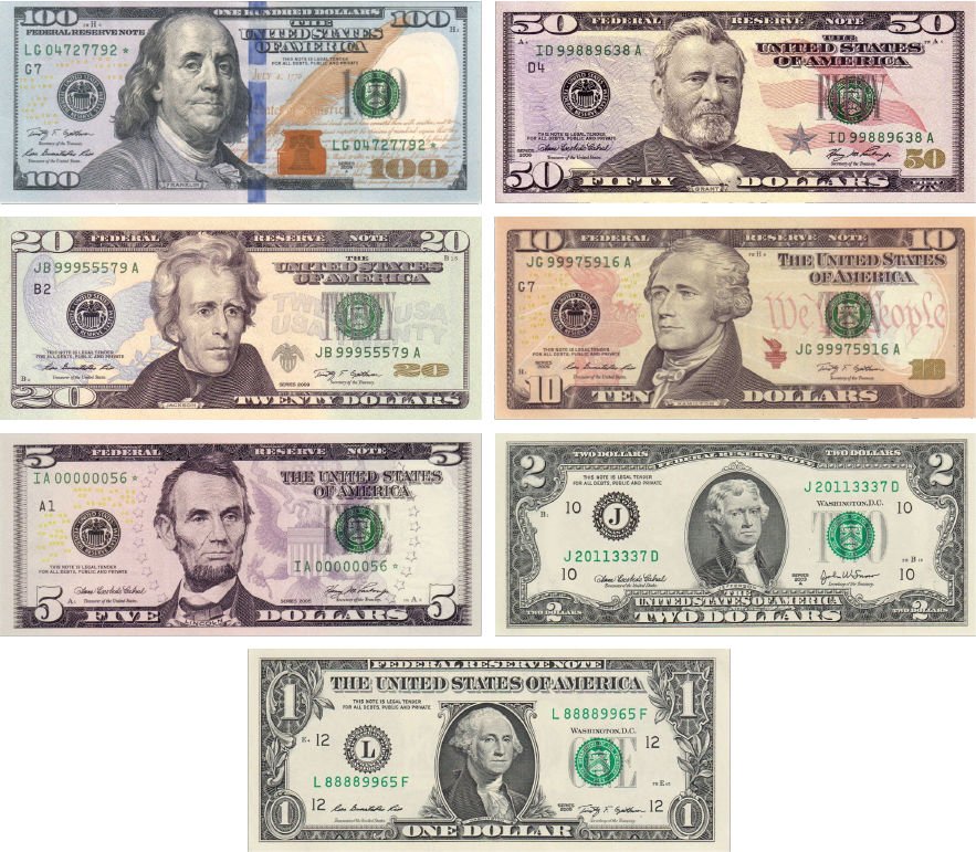All bills in the US are exactly the same size. This makes differentiating $100 from $1 difficult.