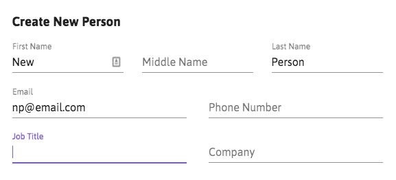 Job title and company in create new person