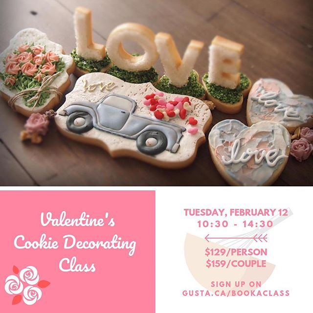 What is more lovely than handmade cookies?  Join us next Tuesday, Feb 12 to learn cookie decorating and bring home Valentine's-themed cookies, with loads of love! . Sign up on gusta.ca/bookaclass . . . #gustacooking #sugarcookies #decoratedcookies #royalicingcookies #royalicing #icingcookies #valentinescookies #torontocakedecorator #cookiedecorating