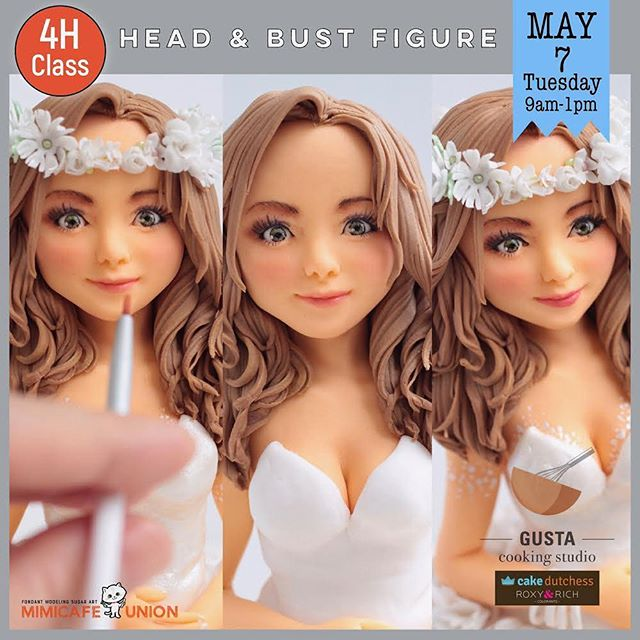 First class - the realistic head & bust figures - will share with you the endless possibilities of modelling fondant figures, you will make your figure from scratch and style her hair and create realistic facial expression!  Class on Tuesday, May 6 at 9am.  Check out class information on www.gusta.ca/mimicafeunion (link in profile). All these skills are transferable to other cake decorating work! . . . . . #gustacooking #markhamclass #torontoclass #cakedecorating #torontocakes #markhamcakes #cakedecoration #cakedecorator #figuremodeling #fondantmodelling #fondantfigure #fondantcake #torontocake #torontocakeartist #torontofondantcake