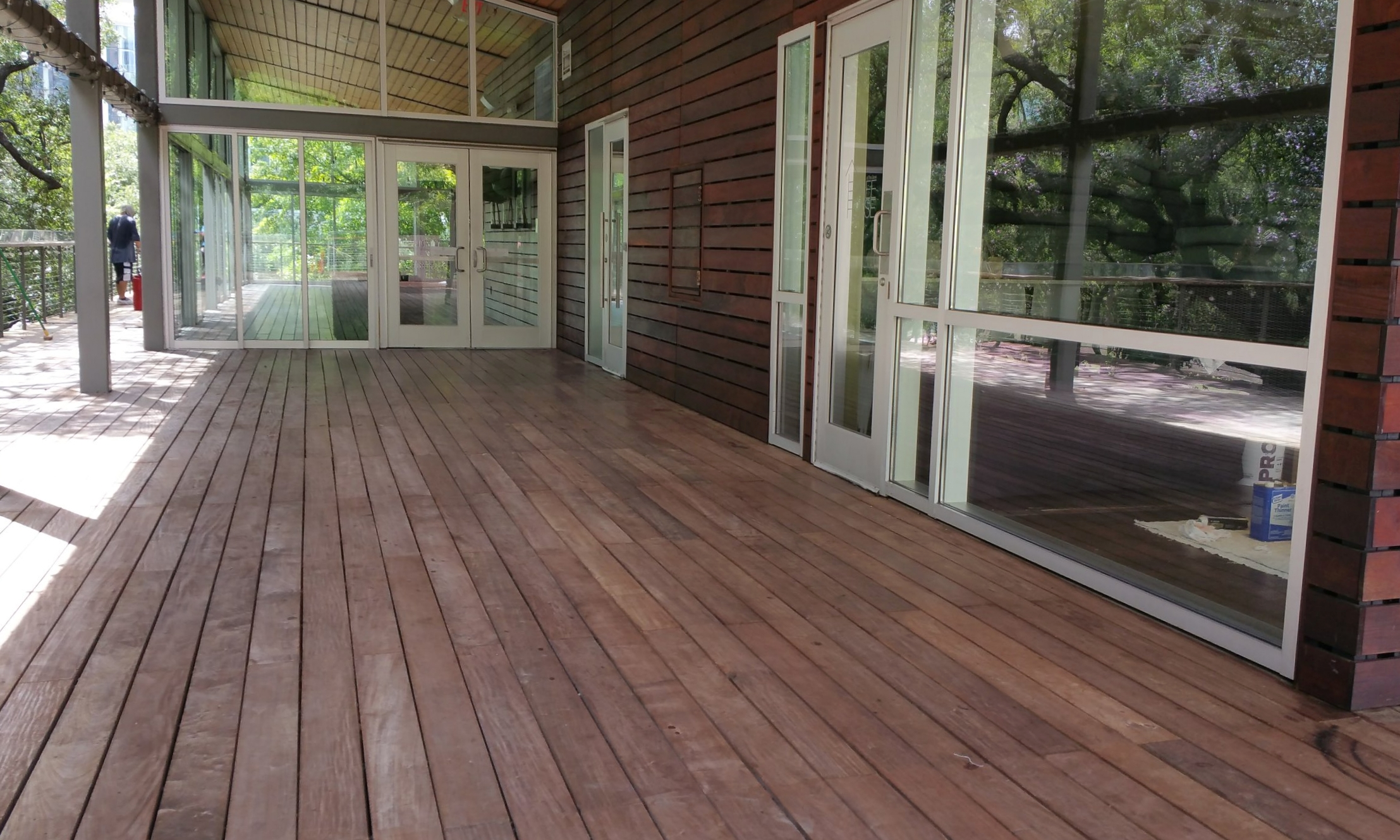 After pressure-washing the deck