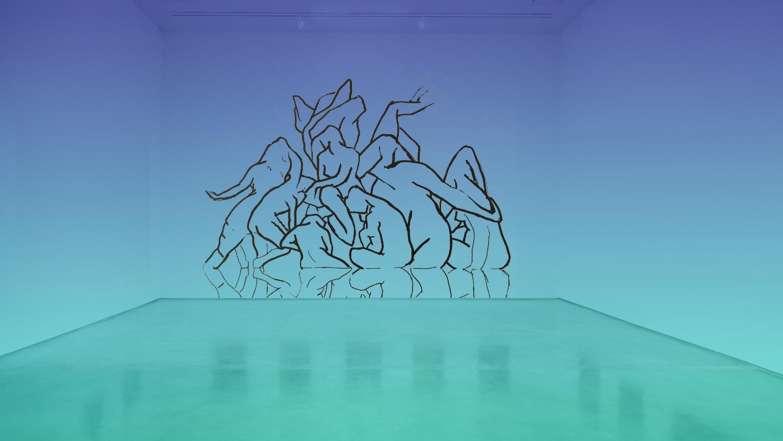 "Mockup for ""Bathers"", (Interior)"