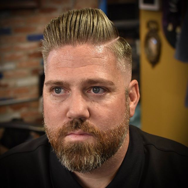 Styled up my dude @russaboulafia hard parted pomp with the holiest @theholyblack supermax. Spots are available this next week! To book your appointment book on the vagaro app, on the True North Website, dm me or call the shop (leave us a voicemail if we cant pick up) have a great day!