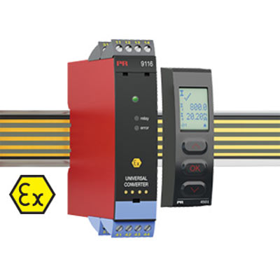 DIN Rail Intrinsically Safe Universal Transmitter Model 9116BDisplay Programming Front PR 4501 -