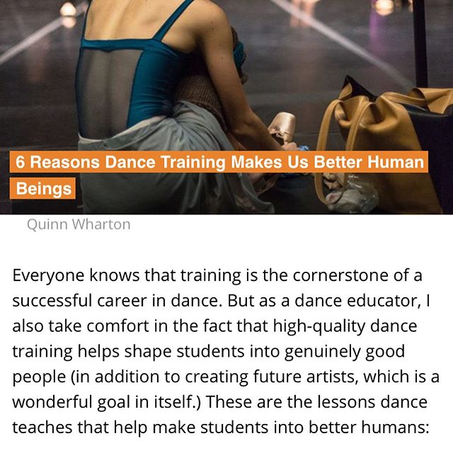 Major throw down from @dancemagazine today ❤️ 6 reasons dance makes us better humans. And there are many many more!! Thanks for the Tuesday inspiration!!