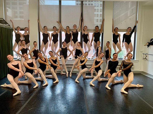 """So fun to see one of our beautiful students hanging out with the amazing crew at @joffreyballet summer program!! Hope you're all having a great time!! . . Repost: . """"Act natural."""" 👯♀️💫 Week 5, Day 2 • Photo snapped at the Wabash studios, where @joffreyballet first rehearsed after their move to Chicago! #joffreyballet #joffreysummer #summerintensive2019 #joffreyacademy"""